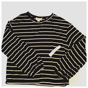 *NWT Monteau Stripe Balloon Sleeve Crop Sweater